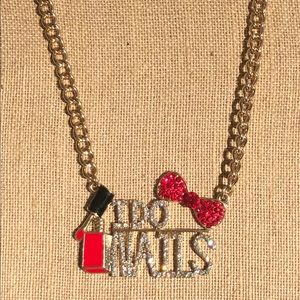 I DO NAILS Crystal Gold Tone Statement Necklace